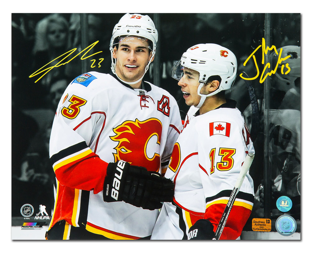 Sean Monahan & Johnny Gaudreau Dual Signed Calgary Flames Stars 16x20 Photo