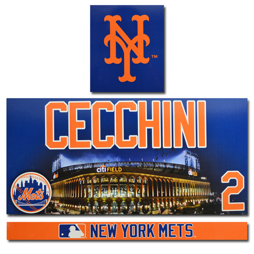 Gavin Cecchini #2 - Citi Field Locker Nameplate Set - 2017 Season
