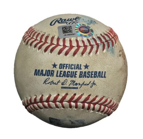 Photo of Game-Used Baseball from Pirates vs. Cardinals on 9/7/16 - Trevor Williams Thrown Pitch (MLB Debut)
