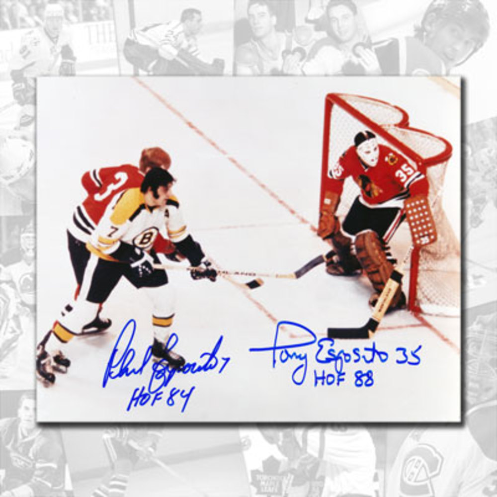 Phil Esposito Boston Bruins vs. Tony Esposito Chicago Blackhawks HOF Dual Autographed 8x10