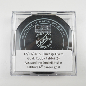 Robby Fabbri - St. Louis Blues - Goal Puck - December 21, 2015 (Flyers Logo)