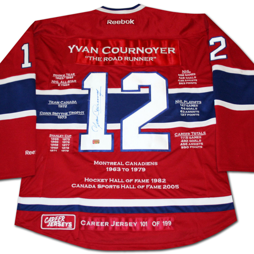 Yvan Cournoyer Autographed Montreal Canadiens Limited-Edition Career Stats Jersey