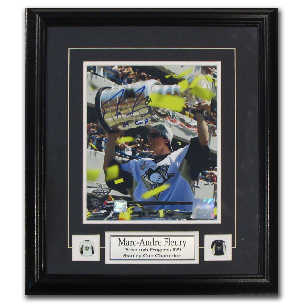 Marc-Andre Fleury Autographed Pittsburgh Penguins Framed 8X10 Photo w/09 CUP Inscription