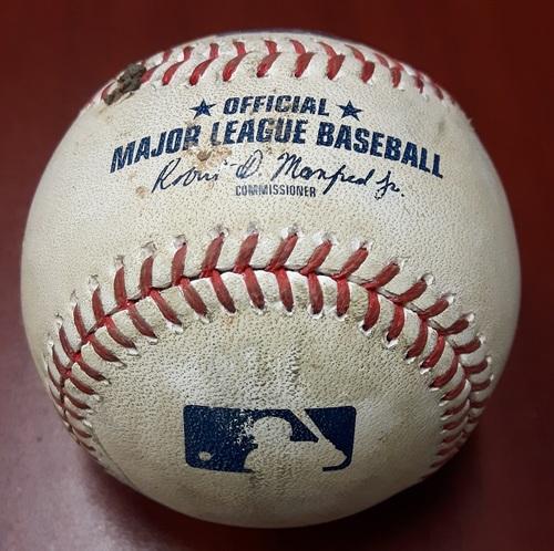 Photo of Authenticated Game Used Baseball - Masahiro Tanaka pitch to Norichika Aoki (Japanese Pitcher to Japanese Batter): August 9, 2017