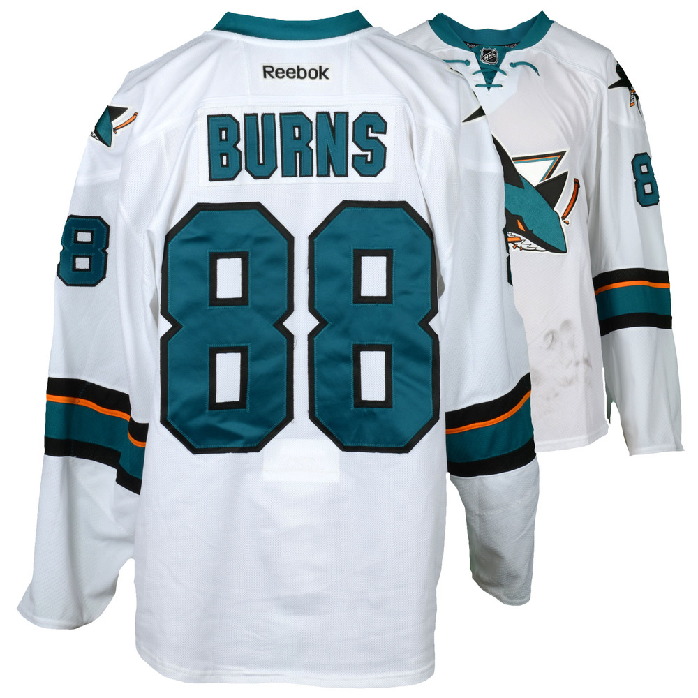 Brent Burns San Jose Sharks Game-Used Away White #88 Jersey Used During All Games Between March 30, 2017 to April 3, 2017 - Size 58