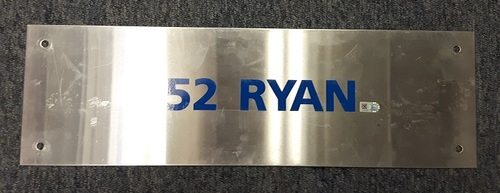 Photo of Authenticated Team Issued Locker Tag - #52 BJ Ryan (2007 Season). 18 inches by 5.5 inches.