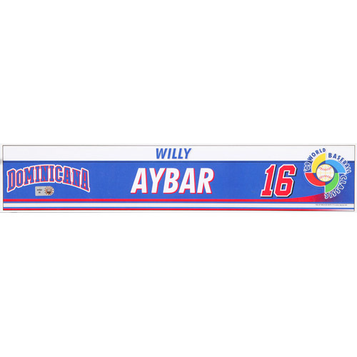 Photo of 2009 WBC: Dominican Republic Game-Used Locker Name Plate - #16 Willie Aybar