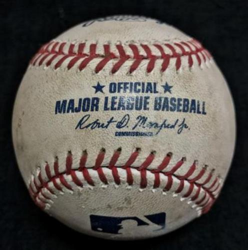 Photo of Game-Used Baseball from Pirates vs. Nationals on 9/24/16 - Hutchison to Harper, Foul to Screen