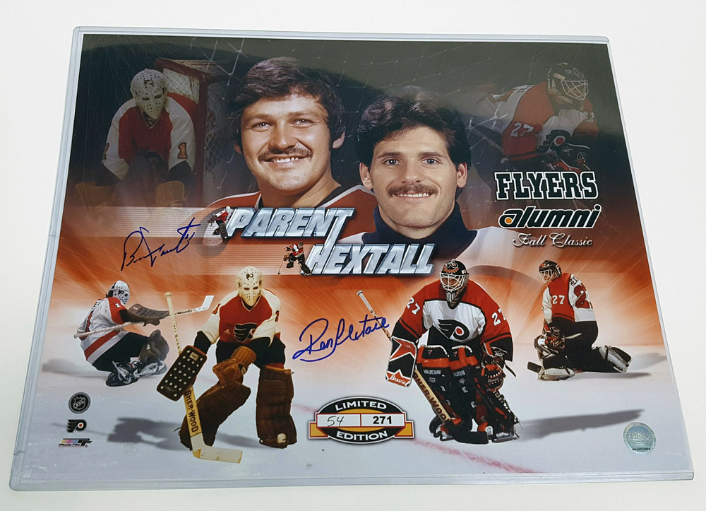 Ron Hextall & Bernie Parent Philadelphia Flyers Dual Signed 16x20 Photo *L/E 24 of 271*