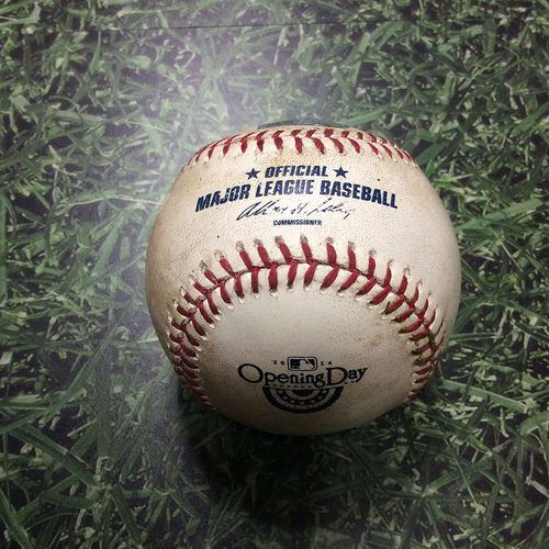 Photo of Game-Used Opening Day Baseball ATL@MIL 03/31/14 - Yovani Gallardo to Justin Upton: Foul Ball (2nd Inning)