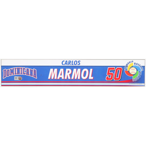 Photo of 2009 WBC: Dominican Republic Game-Used Locker Name Plate - #50 Carlos Marmol