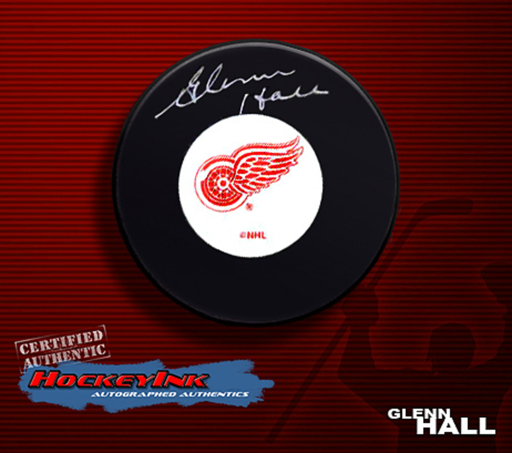 GLENN HALL Signed Detroit Red Wings Puck
