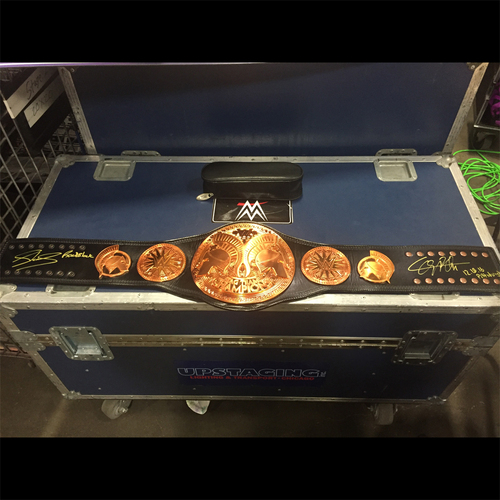 Photo of Sheamus & Cesaro SIGNED WWE Tag Team Championship Replica Title (WWE Roadblock - 12/18/16)