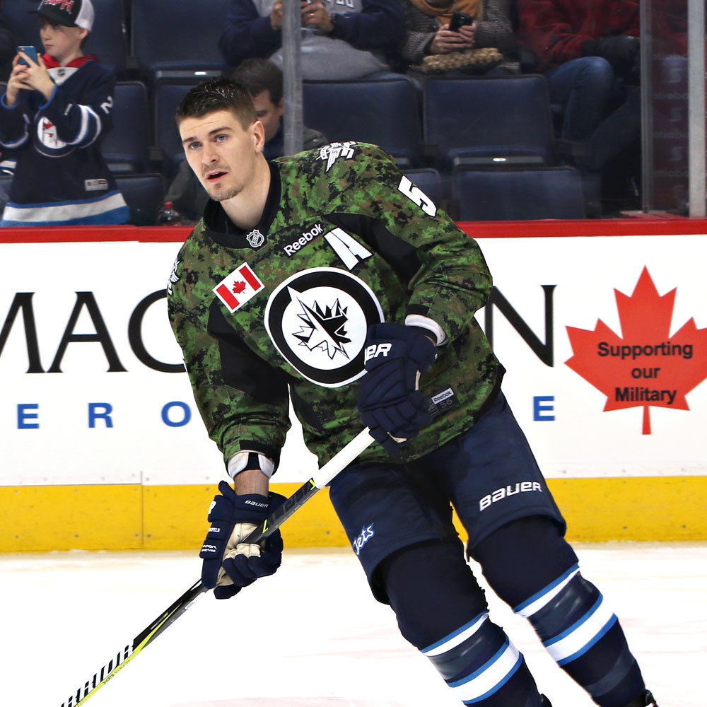 Mark Scheifele Winnipeg Jets Warm Up Worn Canadian Armed Forces jersey