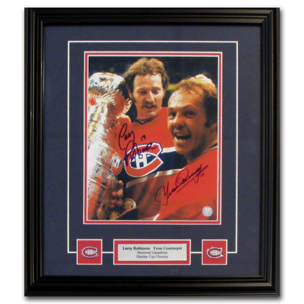 Yvan Cournoyer & Larry Robinson Autographed Montreal Canadiens Framed 8X10 Photo