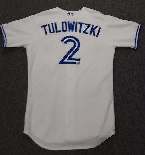 Photo of Authenticated Game Used Jersey - #2 Troy Tulowitzki (July 29, 2015: Blue Jays Debut). Tulowitzki went 3-for-5 with 1 HR, 2 doubles, 3 runs and 3 RBIs