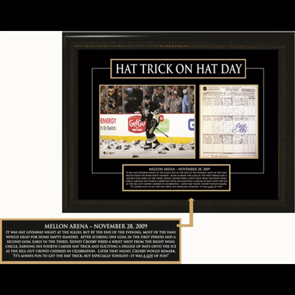 Crosby, S Sig 11X14 Scoresheet Penguins Hat Trick On Hat Day