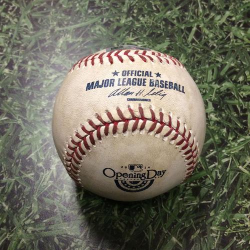 Photo of Game-Used Opening Day Baseball ATL@MIL 03/31/14 - Yovani Gallardo to Justin Upton: Foul Ball (4th inning)