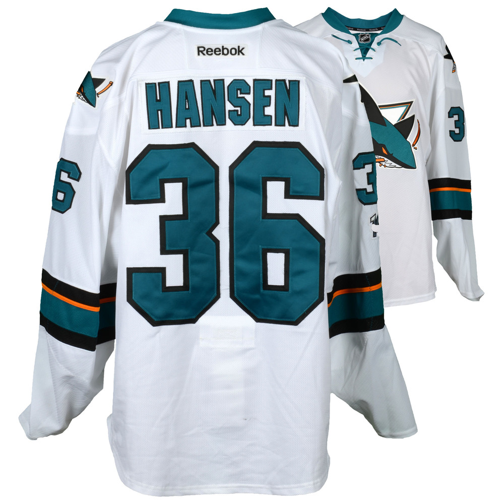 Jannik Hansen San Jose Sharks Game-Used Away White #36 Jersey Used During All Games Between March 30, 2017 to April 3, 2017 - Size 58