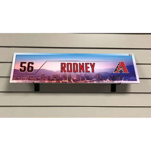 Photo of Fernando Rodney Game-Used  2017 Season Nameplate