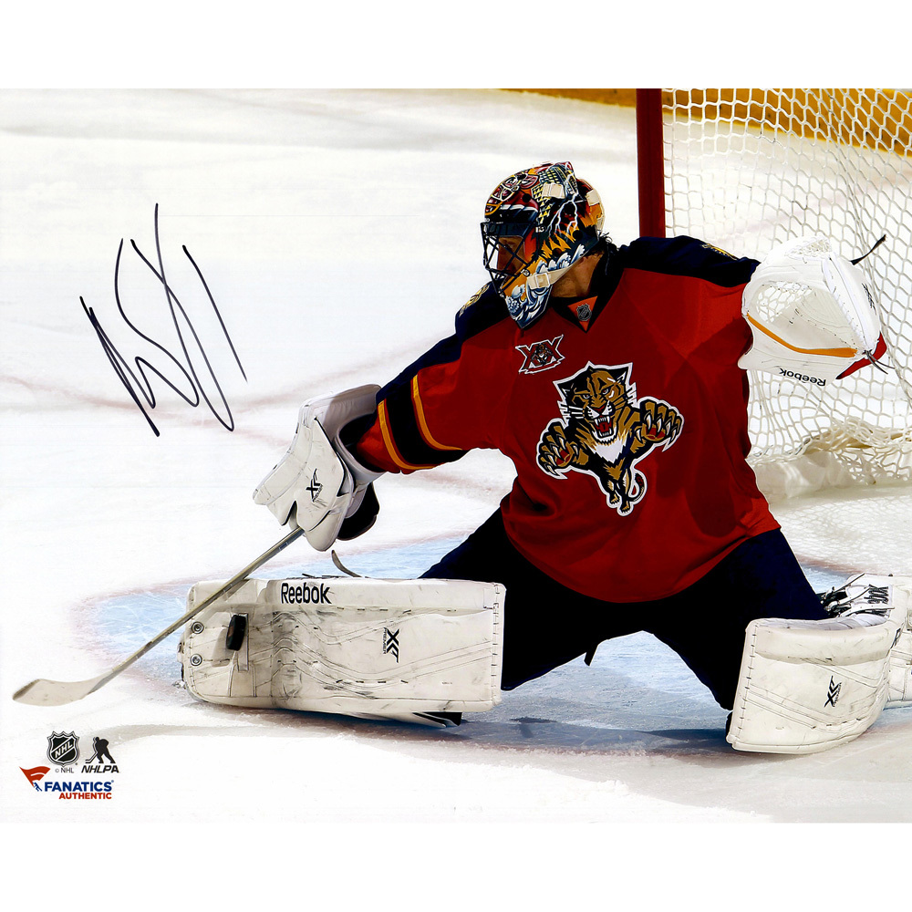 Roberto Luongo Florida Panthers Autographed 16'' x 20'' Red Kick Save Photograph