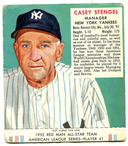 Photo of 1952 Red Man #AL1 Casey Stengel MG With Tab