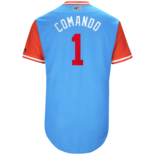 "Photo of Elvis ""Comando"" Andrus Texas Rangers Game-Used Players Weekend Jersey"
