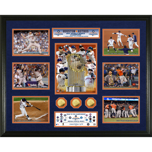 Serial #1! Houston Astros 2017 World Series Champions 24kt Gold Coin Mega Mint