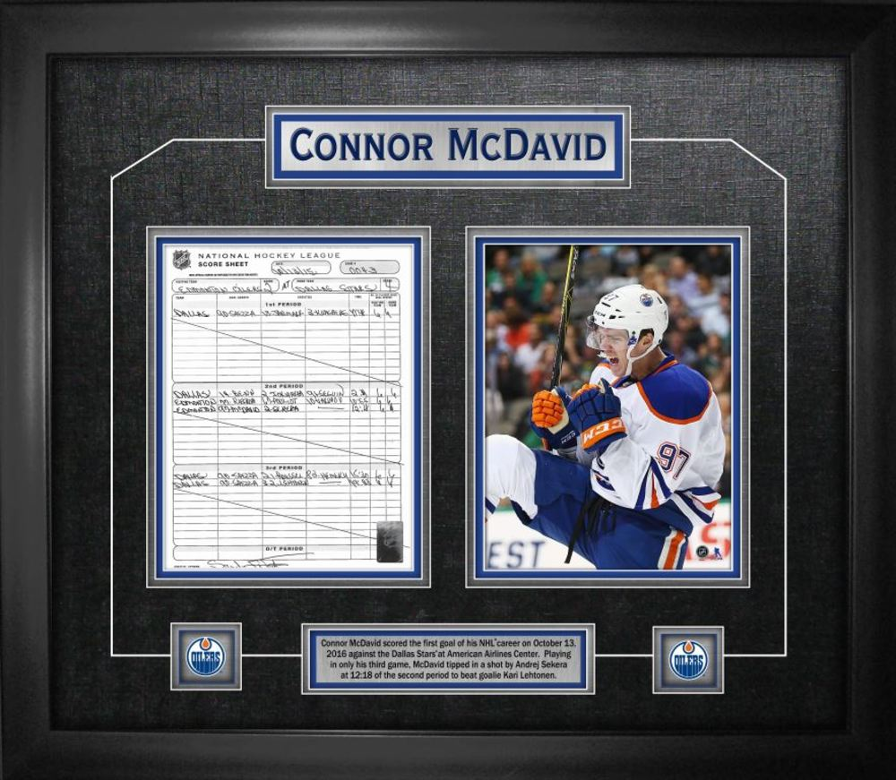Connor McDavid - Framed First Goal Scoresheet Collage - Edmonton Oilers