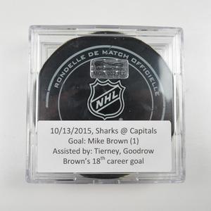 Mike Brown - San Jose Sharks - Goal Puck - October 13, 2015 (Capitals Logo)
