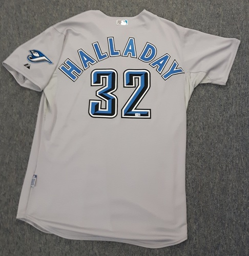 Photo of Authenticated Team Issued Jersey - #32 Roy Halladay (2008 Season). Halladay won 20 Games in 2008.