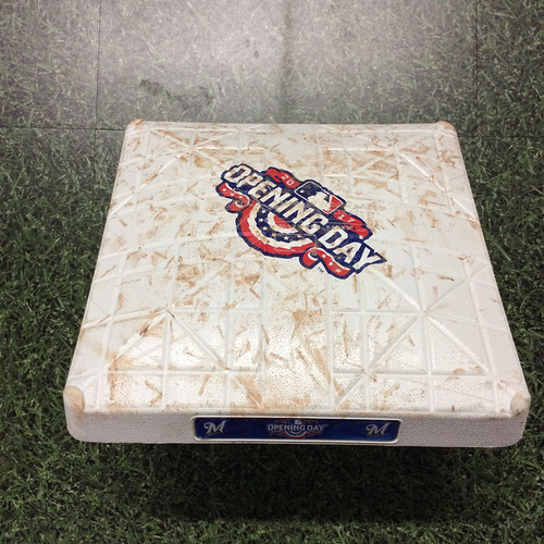 Photo of Game-Used 2017 Opening Day 2nd Base - COL@MIL - Innings 7-9