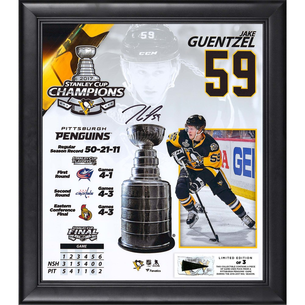 Jake Guentzel Pittsburgh Penguins Framed 2017 Stanley Cup Champions Autographed 15