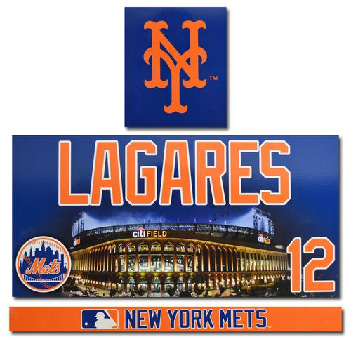 Photo of Juan Lagares #12 - Citi Field Locker Nameplate Set - 2017 Season