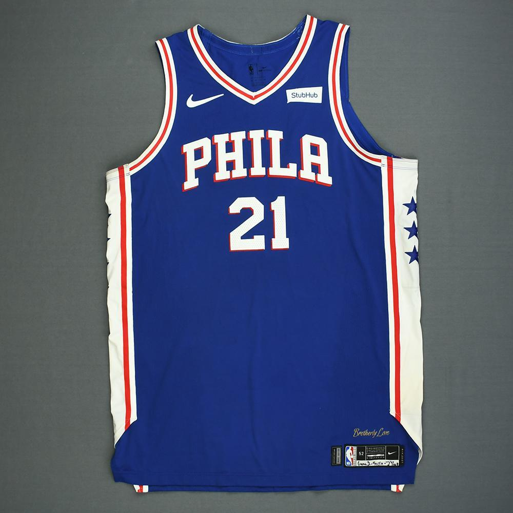 Joel Embiid - Philadelphia 76ers - Kia NBA Tip-Off 2018 - Game-Worn Icon Edition 1st Half Only Jersey - Double-Double