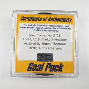 Tomas Hertl - San Jose Sharks - Goal Puck - April 2, 2016 (Predators Logo)