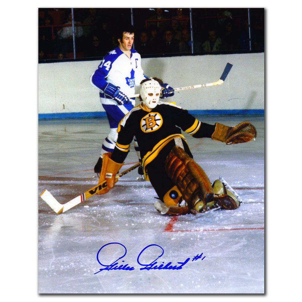 Gilles Gilbert Boston Bruins vs. Dave Keon Autographed 8x10