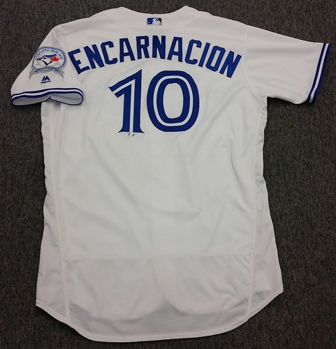 Photo of Authenticated Game Used #10 Edwin Encarnacion 2016 Home Opening Day Home Jersey - worn April 8, 2016 vs Boston Red Sox - Encarnacion 1 for 3 with 1 Single, 1 RBI, and 1 Walk.