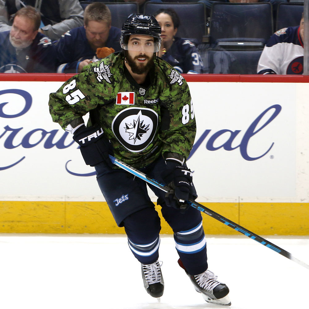 Matthieu Perreault Winnipeg Jets Warm Up Worn Canadian Armed Forces jersey
