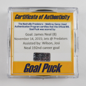 James Neal - Nashville Predators - Goal Puck - November 14, 2015 (Predators Logo)