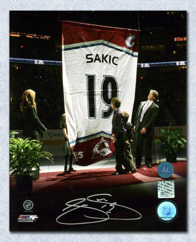 Joe Sakic Colorado Avalanche Number Retirement Autographed 8x10 Photo