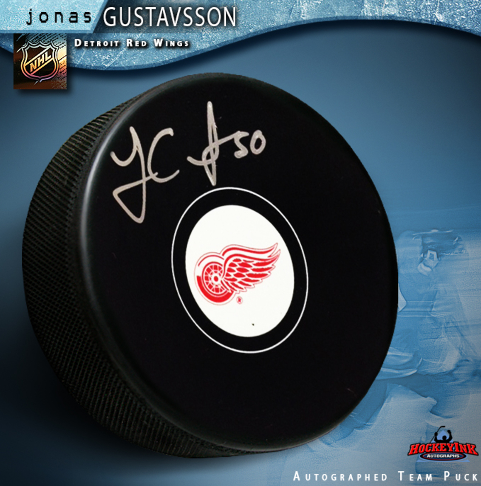 JONAS GUSTAVSSON Signed Detroit Red Wings Puck