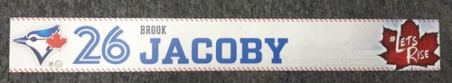 Photo of Authenticated Team Issued Locker Tag - #26 Brook Jacoby (2017 Season). 2 feet by 3 inches.