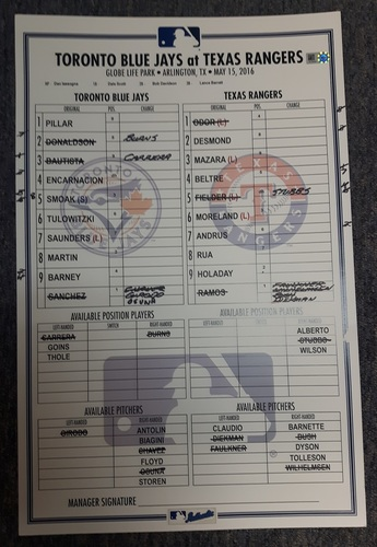 Photo of Authenticated Game Used Line-Up Card - May 15, 2016: Benches Cleared vs Texas after Bautista Slide into Odor. 11 inches by 17 inches.