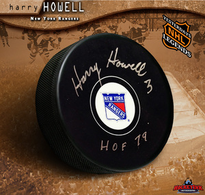 HARRY HOWELL Signed New York Rangers Puck - HOF 79