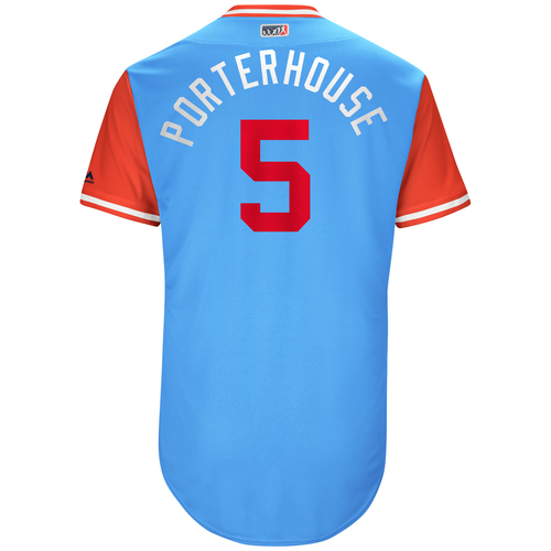 "Photo of Mike ""Porterhouse"" Napoli Texas Rangers Game-Used Players Weekend Jersey"
