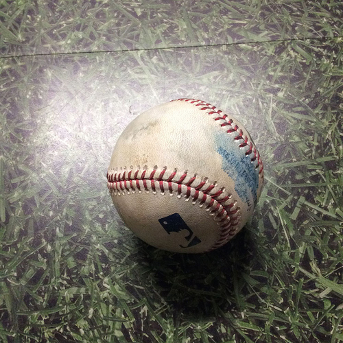 Photo of Game-Used Baseball 04/20/17 STL@MIL - Zach Davies to Yadier Molina: Single
