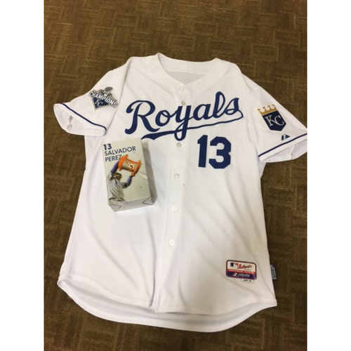 Photo of Royals Charities Auction: Salvador Perez #13 Appearance Jersey and 2015 World Series Commemorative Booblehead