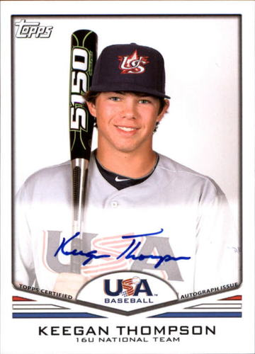 Photo of 2011 USA Baseball Autographs #A39 Keegan Thompson RC AUTO
