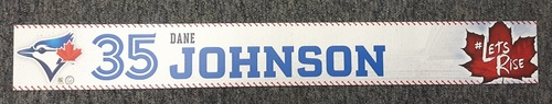 Photo of Authenticated Team Issued Locker Tag - #35 Dane Johnson (2017 Season). 2 feet by 3 inches.